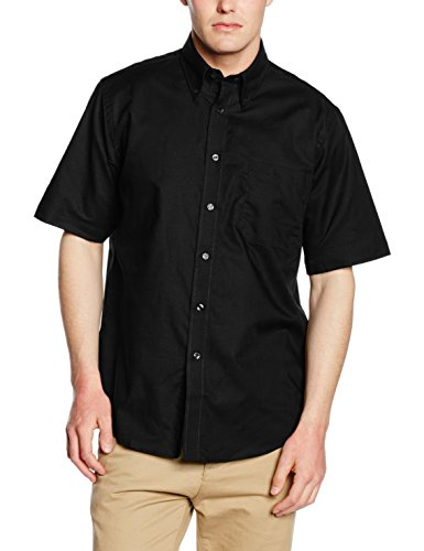 Fruit of the Loom Herren Oxford Businesshemd Oxford Short Sleeve, Schwarz, XXX-Large (Herstellergröße: 18.5