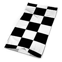 レトロな黒と白の市松模様の布団カバー ヘッドバンドバンダナキャップスカーフエラスティックターバンヘッドラップネックウォーマー