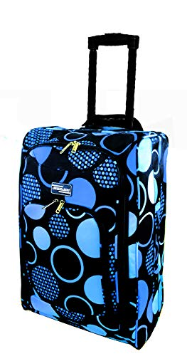 Hand Luggage Cabin Bag Trolley with Wheels Flight Bags Suit Case for Easyjet, Ryanair, British Airways, Virgin, FlyBe, Jet 2 and Many Others Airlines or Travel (Blue Circle)
