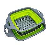 Coladores cuadrados de silicona plegables, coladores Fordable y coladores cuadrados de silicona para cesta de drenaje para cocina, frutas y verduras 2 piezas(verde)