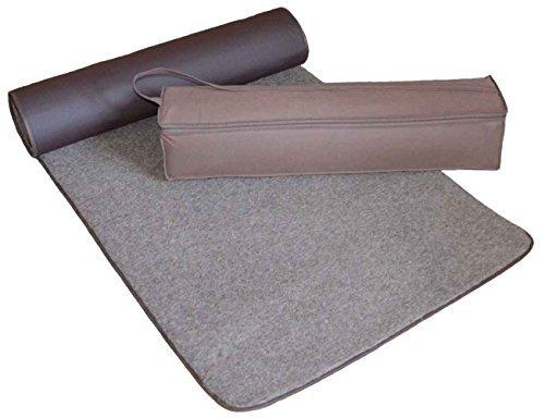 SamWo Premium yogamatta naturlig 100 % merinoull, äkta fårull från Live Sheep, halkfri bas...