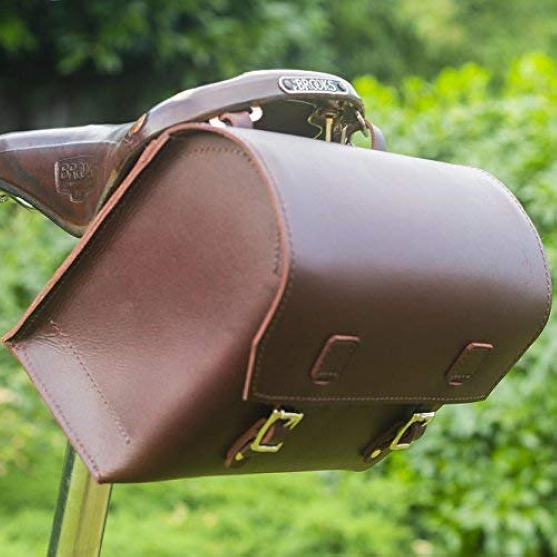 London Craftwork Super Large Bicycle Bag Genuine Leather Saddle Handlebar Frame Bag Cherry Brown 23 x 19.5 x 11cm