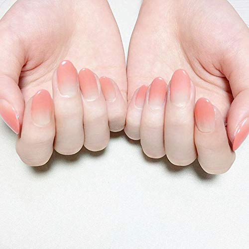 Nail patch full set of nude color natural gradient long lasting fake nails finished waterproof fingernails wholesale-N265 [glue] long section -  meijiago, jhgji2991
