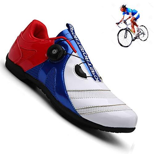 YURU Zapato De Bicicleta Profesional para Caballero Use Atletas Transpirables Al Aire Libre Que Monten Zapatos Transpirables,Red-38 ⭐
