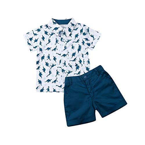 Geagodelia 2 Pezzi Completo Bambino Vestito Estivo Blu Camicia a Maniche Corte con Stampa Dinosauro+ Calzoncini Blu