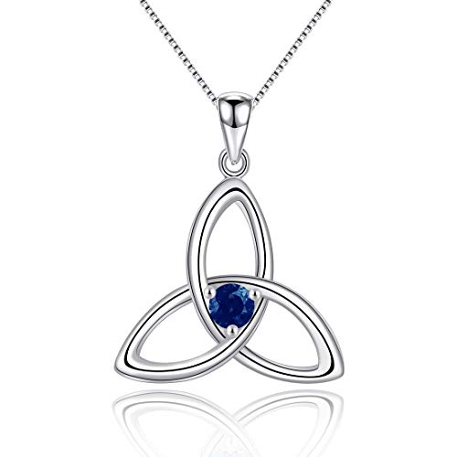 925 Sterling Silver Irish Celtic Triquetra Knot Birthstone Pendant Necklace for Women Fine Jewelry Birthday Gift