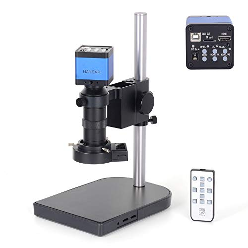 HAYEAR 16MP Full HD 1080P 60FPS HDMI USB Output Industry Microscope Video Camera 100X C-Mount Lens Video Recorder 40 LED Ring Light