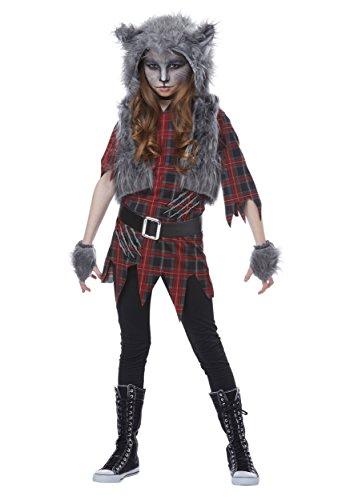 California Costumes Gefährliches Werwolf-Kostüm für Mädchen Halloween grau-rot - 134 (6-8 Jahre)