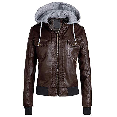 NOBRAND Damen-Winter-Lederjacke, lässig, mit Kapuze, Basic-Jacke, Mäntel, Khaki, Motorradjacke für Mädchen, Übergröße 3XL Gr. XXL, braun