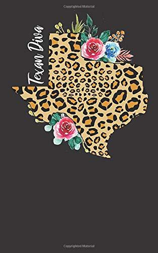 Texan Diva: Cheetah Print Texas Notebook Gift for Women - Pretty Watercolor Flowers