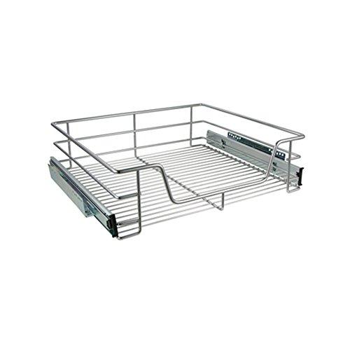 com-four® Cestas extraibles para muebles de cocina - Bandeja extraible de 60 cm - Cajones para despensa extraibles, 14 x 45 x 49,5 cm (cajón de montaje)