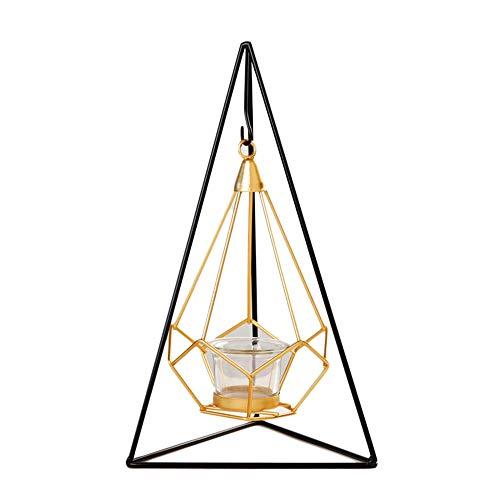 Yhjkvl-HO - Portavelas de Metal para Mesa de Cena, Pilar, decoración de pirámide, Metal, Dorado, 18 * 30.5cm