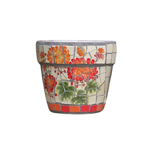 Azyq Maceta de cerámica de estilo americano, macetas de interior con platillos, macetas de jardín de cerámica modernas redondas de tamaño pequeño a mediano, contenedores de plantas de jardín