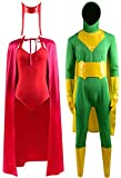 Womens Wanda Maximoff Costume Red Jumpsuits Cloak Suits and Mens Vision Costume Green Bodysuit Halloween Cosplay Costume (X-Large, Scarlet Witch Full Set)