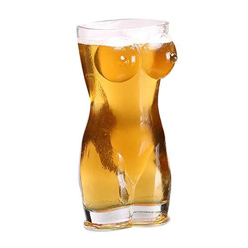 Owl's-Yard Bierkrug Sexy Bierglas, Frauenkörper Kreative Körperform Glas Tasse Bier für Dame und Mann, Personalisiertes Weißbierglas für Zuhause Hotel Restaurant & Bar (Weiblich 400ml)