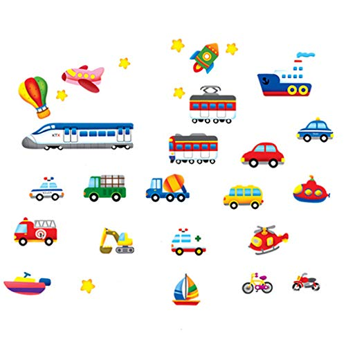 Cartoon Cars Trains Ships Boats Balloon Vinyl Wall Decal PVC Home Sticker House Paper Decoration WallPaper Living Room Bedroom Kitchen Art Picture DIY Murals Girls Boys kids Nursery Baby Playroom Decor by fashionbeautybuy1