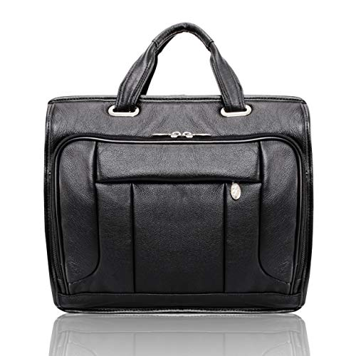 """McKlein, S Series, River WEST, Pebble Grain Calfskin Leather, 15"""" Leather Fly-Through Checkpoint-Friendly Laptop Briefcase, Black (15715)"""