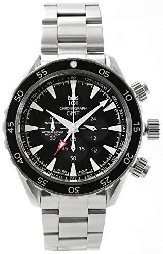 [HYAKUICHI 101] ヒャクイチ 腕時計 GMT ダイバーズウォッチ 20気圧防水 クロノグラフ メンズ スモールセコンド ブラック
