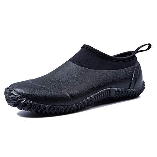 gracosy Men's Women's Rubber Water Shoes Neoprene Boots Rubber Snow Rain Boots Waterproof Garden Shoes Slip On Outdoor Walking Shoes Lightweight Beach Shoes Aqua Shoes Sneaker Black 6 UK