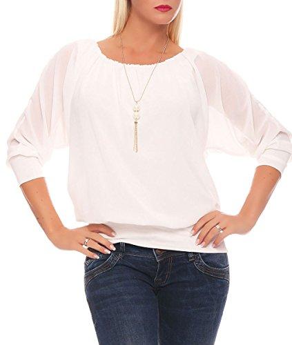 Malito Damen Bluse mit passender Kette | Tunika mit ¾ Armen | Blusenshirt mit breitem Bund | Elegant - Shirt 1133 (weiß)