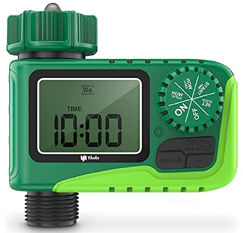 Tikola Temporizador de Riego Automático, Programador de Riego Jardín, para Rociador de Jardín Sistema de Irrigación con Temporizador Controlador Digital