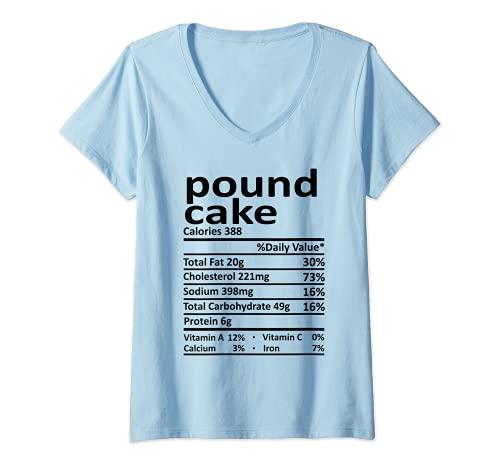 Mujer Pound Cake Nutrition Disfraz de Accin de Gracias Alimentos Navidad Camiseta Cuello V