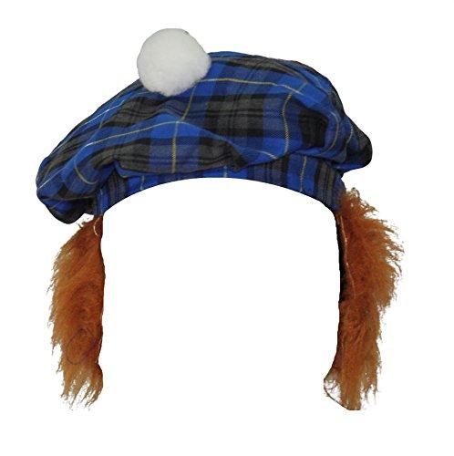 Blue Hunting Tartan Tam-O-Shanter With Ginger Hair Scottish Highland Hat