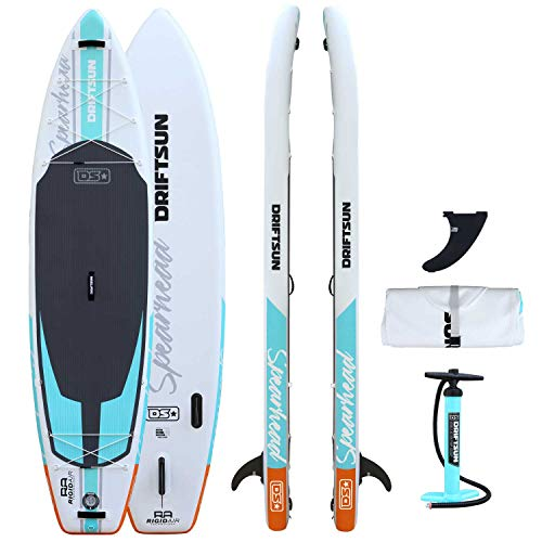 Driftsun Spearhead Rigid Stand Up Inflatable Paddleboard 11ft SUP, with Paddle, Fin, Leash and Carry...