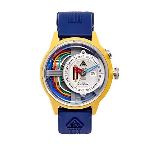 The Electricianz Cable Z - Reloj de diseñador para hombre, esfera con luz LED, diseño suizo, módulo eléctrico único, caja de nailon resistente de 45 mm, correa de goma azul cobalto
