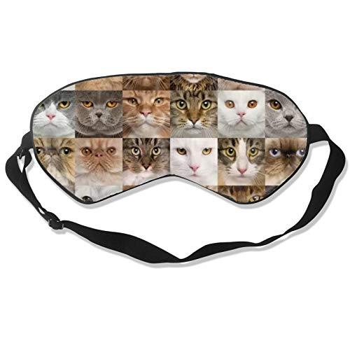 Máscara de dormir para los amantes de los gatos con correa ajustable para la cabeza, cubierta suave y duradera para dormir toda la noche, viajes, trabajo por turno, meditación, siesta