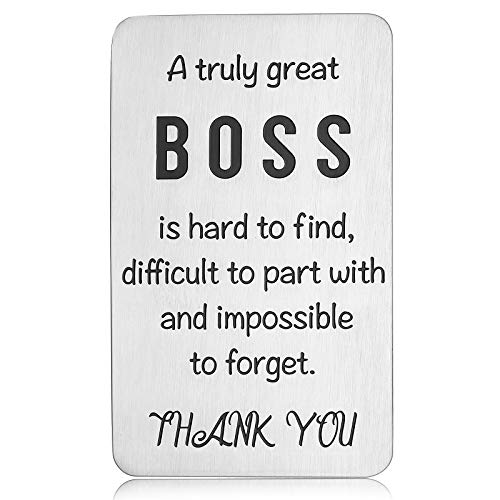 Boss Wallet Insert Card for Mentor Leader Christmas Birthday Appreciation Thank You Note Farewell Retirement Going Away Leaving Gift for Supervisor Manager Coworker Colleague