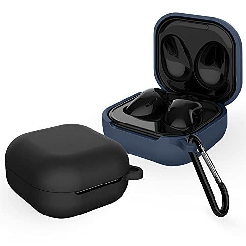 BAOWEI [2-Pack] Hülle Kompatibel mit Samsung Galaxy Buds Pro 2021/Samsung Galaxy Buds Live 2020, Silikon Stoßfeste Schutzhülle Hülle - Schwarz & Mitternachtsblau