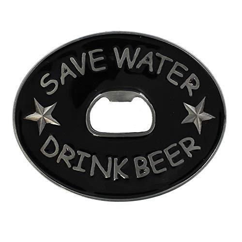 eeddoo® Gürtelschnalle - Save Water Drink Beer Flaschenöffner (Buckle für Wechselgürtel für Damen und Herren | Belt Frauen Männer Oldschool Rockabilly Metall Bier Bar Pub Rock Biker Western Trucker)