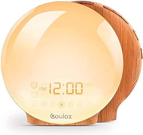COULAX Wake Up Licht Lichtwecker Snooze Light Alarm Clock FM Radio Tageslichtwecker mit 2 Weckzeiten 7 Naturgeräuschen und Holzoptik Tageslichtwecker für Erwachsene & Kinder
