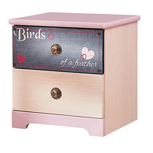 CZWYF Nachttisch Kinder Kiefer Schubladenschrank Schlafzimmer Aufbewahrungsmöbel Jungen und Mädchen Lagerschrank (Color : Pink, Size : 48 * 42.5 * 50cm)