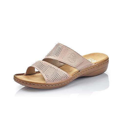 Rieker Damen ClogsPantoletten 60812, Frauen Clogs, elegant Women's Women Woman Freizeit leger Slipper Slides Sandale,lightrose / 31,37 EU / 4 UK