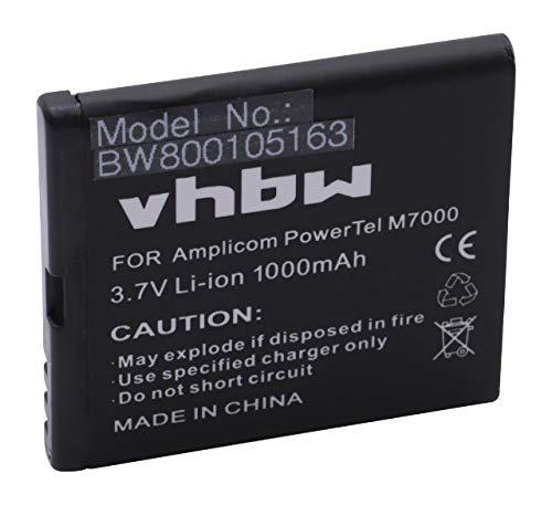 vhbw Li-Ion Akku 1000mAh (3.7V) für Handy Handy Smartphone Amplicom PowerTel M7000 wie CM504442APR.