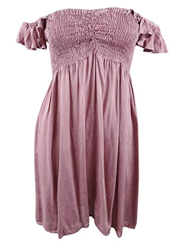 Raviya Women's Off-The-Shoulder Ruffled Swimsuit Cover-Up Dress (Blush, Medium)
