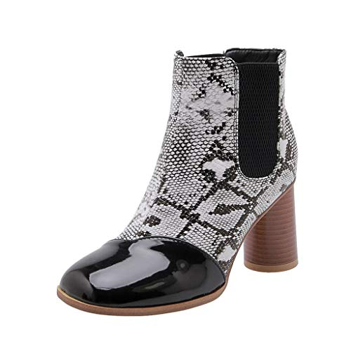 Zegeey Damen Halbschaft Stiefel Mode Winterstiefel High Heels Blockabsatz Herbst Winter Boots Rot Grau Braun(Grau,38EU)