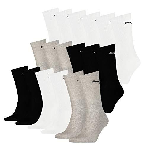 PUMA 18 Paar Socken Cush Crew Sportsocken Tennis Socken Unisex, Socken & Strümpfe:43-46, Farbe:Greyscale