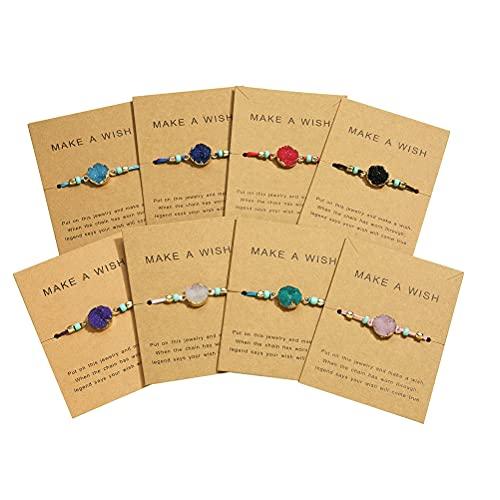 Enkomy Adjustable Bracelets Women's Wrap Bracelet,Adjustable Bracelet Made Of Natural Stone Couple Bracelet Braided Bracelet Jewelry Gift For Women Girls