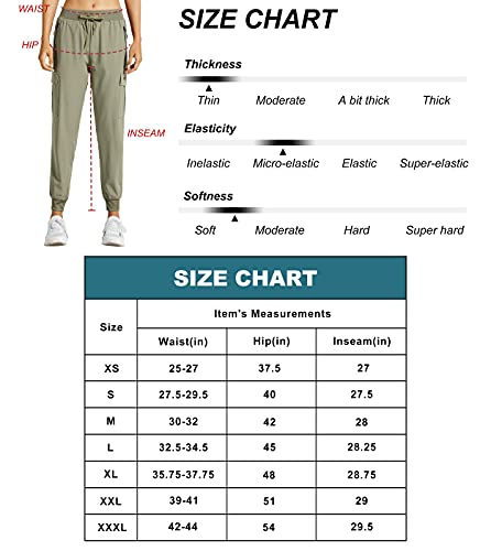Libin Women's Cargo Joggers Lightweight Quick Dry Hiking Pants Athletic Workout Lounge Casual Outdoor, Steel Gray S