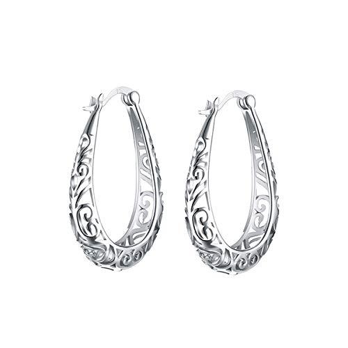 S925 Pendientes de mujer Aros Oreja Aro de plata esterlina Filigrana Pendientes de oreja Pendiente de diseño hueco para mujeres Niñas (plata)