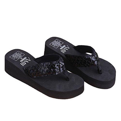 ZOUCY Summer Soft Sandalias con cuña para Mujer Lentejuelas Tanga Chanclas Plataformas Zapatillas