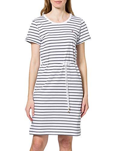 Tommy Hilfiger Damen TH COOL STP C-NK Short Dress SS Lssiges Kleid, weiß, Medium