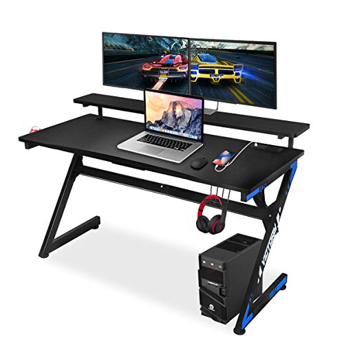 Gaming Computer Desk 55 Inch Large Gaming Table Z Shape Black Racing Table Student Desk with& Headphone Hook for Kids Adults Home Office Bedroom Computer Workstation