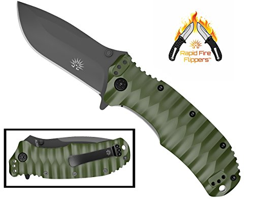 OFF-GRID KNIVES - Rapid Fire Ranger - Camping & Hunting Knife, Cryo D2 Blade Steel with Olive Drab...