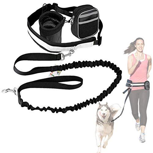 Cadrim Hunde Joggingleine mit verstellbarem Hüftgurt Bungee Leine zum handfreien Laufen/Fahrrad Fahren (Schwarz)