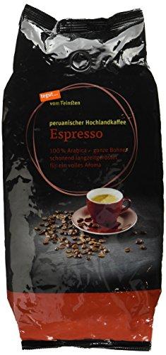 tegut... vom Feinsten Espresso ganze Bohnen (1 kg, peruanischer Hochlandkaffee - Bio 100% Arabica Röstkaffee aus kontrolliert ökologischem Anbau - aus dem Hochland Mittel- und Südamerikas)