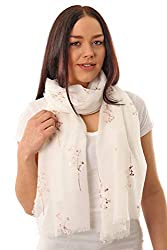 COLOURFUL, FLORAL AND SKIN-FRIENDLY: These super soft and lightweight feather and sprig themed scarves are an ideal accessory or gift for all seasons and occasions. With a wide range of colour combinations to pick from – White, Black, Navy Blue, Dust...